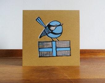 Blue Wren, Bird, Woodland Animal, Original Hand Printed Card, Linocut Card, Blank Greeting Card, Brown Kraft Card, Free Postage in UK,