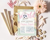 The World Awaits Baby Shower Invitation - Welcome to the World, Globe Baby Shower Invite, Girl or Boy - PRINTABLE or Printed Invitations