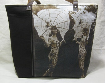 Vintage Halloween Photo Tote Bag - Spiderweb Girl