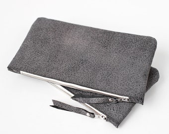 Grey Leather Pouch No. ZPSL-101