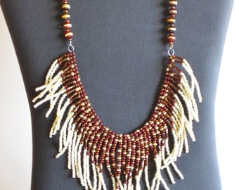 Native American necklace in cream, copper, gold and brown with Tibetan agate stones