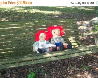 Vintage Raggedy Ann and Andy Cloth Doll One Eye Ann One Eye Andy Doll Collectors