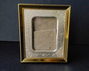 Victorian Small Gold Photo Picture Frame Metal Ornate Home Decor Mid Century 1950s