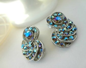 Vintage AB Clips / Old Rhinestones / Wear On Shoes, Ears or Re-Design