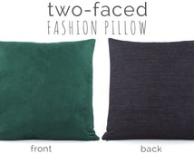 """Hunter Green Pillow Cover 20x20"""" with Faux Suede & Denim, Green Pillow, Green Cushion, Throw Pillow, Urban Suede"""