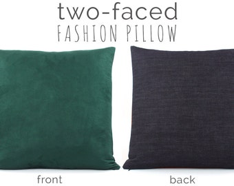 "Hunter Green Pillow Cover 20x20"" with Faux Suede & Denim, Green Pillow, Green Cushion, Throw Pillow, Urban Suede"