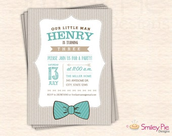 Our Little Man Bowtie Birthday Invite – Tan/Aqua