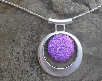 Purple Dichroic Necklace Dichroic Fused Glass Purple and Silver Pendant