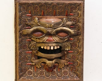 Drawer Pull Spirit Mask #3 - Steampunk Wall Art - Mask Wall Art - Recycled Wall Art