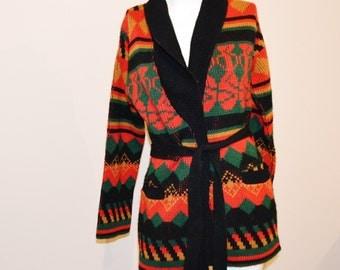 Vintage Wrap Sweater Aztec Print