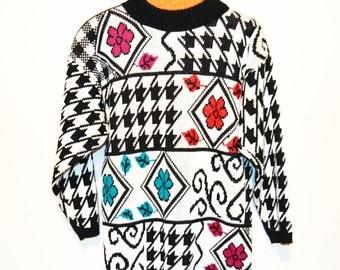 Vintage Sweater Flower Power Vibes with Black
