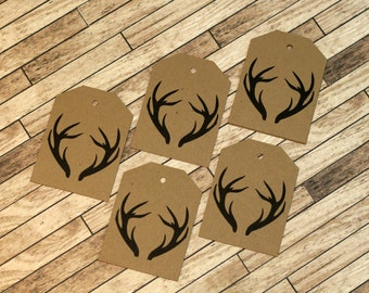 Rustic Antler Gift Tags - Set of 10