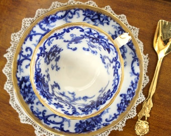 Antique Flow Blue, Cup and Saucer, Vintage Teacup, Cauldon Blue and White Bone China 13289