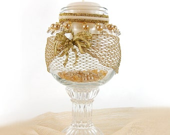 Victorian Style Vase, Gold Candle Holder, Pedestal Vase, Vintage Style Decor, Home Decor, Christmas Decoration, Gold Trim Vase, Holiday Gift