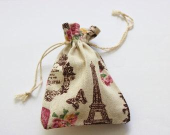 French Design Cotton 10+ Burlap Muslin Favor Bags Wedding Favor Bags  / Showers / Parties / Garden Parties
