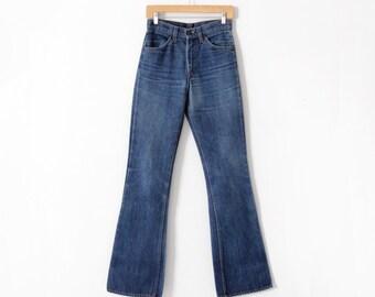 FREE SHIP  1970s Levis jeans, Levis 646 denim flare leg jeans, 28 x 36