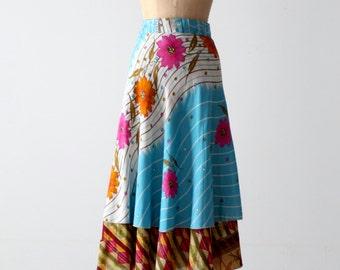 reversible wrap skirt, vintage floral faux silk wrap skirt