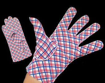 1960s MOD Red, White and Blue plaid Cotton Gloves / size 7