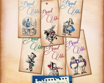 Alice Vintage Tags No 20 READ ME , Alice in Wonderland Tags, labels, perfect for parties, presents and invitations.