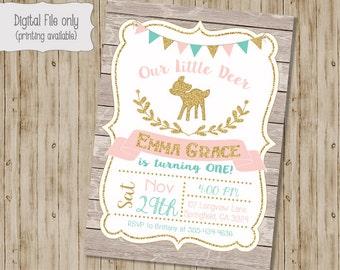 Deer Birthday Invitation, Our Little Deer Birthday Invitation, Woodland, First Birthday, Deer Invitation, Gold Glitter, Deer Birthday