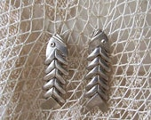 Vintage Sterling Silver Fish Earrings Articulating Layers Pierced Post Earrings Retro Jewelry Gift For Mom 1950s