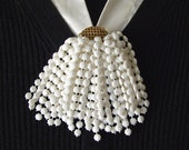 Vintage Celluloid Brooch White Beaded Tassel Fan Pin Retro Jewelry Sweater Pin Scarf Pin Gift For Mom 1940s