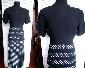 Vintage 1940's black  dress, Peplum with a Bustle, white polkadots, Nan Parker