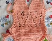 Crochet baby girl swimsuit Monokini for 1 years old.