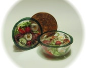 Doll house miniature. Salad bowl. 1/12th scale