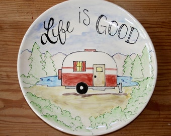 Ceramic plate with camper, RV, camping, serving dish, outdoors