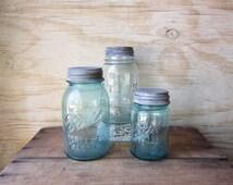 Aqua Mason Jar with Zinc Lids Set of Three