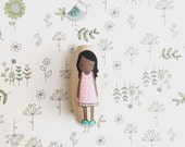 Wooden Doll with Pink Dress, Wooden Toys, Non-Toxic Toys, Stocking Stuffers