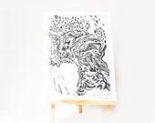 LINOCUT PRINT- olive tree- artistic print- linogravure