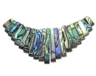 SALE New Zealand Paua Shell, Abalone Shell Pendants, Rectangle 3 inch wide, Statement Panendt (G5517-6BHM)