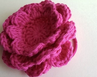 Crochet Flower with Hair Tie - Large, Hot Pink Flower on Pony Tail Holder