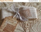 End of Summer Hand Cut, Fringed and Stamped Muslin Vintage Ribbon with French Script and Bee Hive