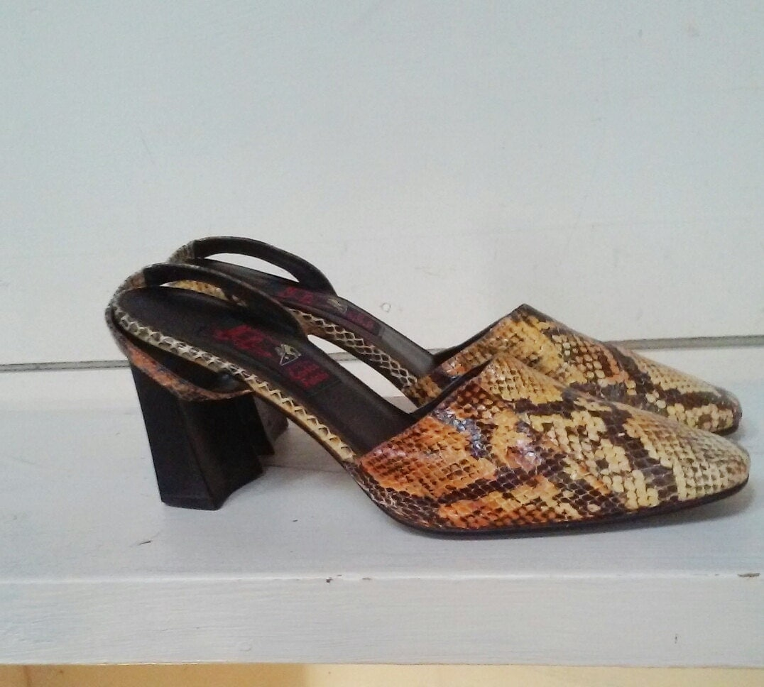 Vintage 70s Snakeskin Mules By Carlos Falchi Shoes 80s Disco