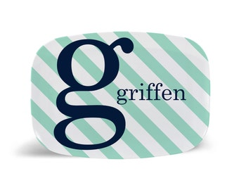 By the Letter Striped Melamine Platter-Pick your Color