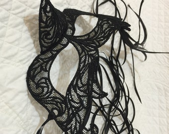 Halloween Mardi Gras Black Lace Mask with Sparkles Quiltsy Handmade