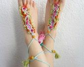 Crochet Bohemian Barefoot Sandals - barefoot sandals,crochet sandals,boho sandals,beach sandals,barefoot sandals,feet jewelry