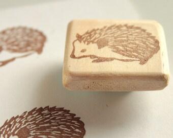 Hedgehog stamp, hand carved, wood mounted