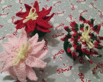 Poinsettia, Ornament, and Bell Christmas Goody Bags - Handmade Crochet