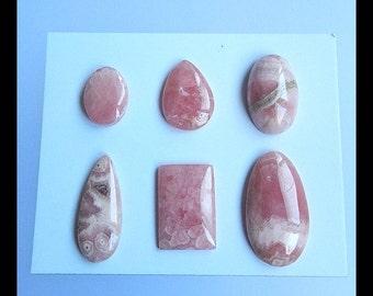 6 PCS Argentina Rhodochrosite Gemstone  Cabochon ,24x13x4mm,13x10x4mm,11.65g