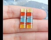 Cymophane Intarsia Cabochon Pair (Drilled Beads),22x6x2mm,1.5g