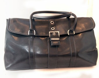 Large Bag, Vegan Weekender Bag, Large Shoulder Bag, Black Purse, Black Bag