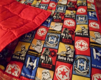 Handmade Toddler Quilt - Star Wars- Red-Toddler Bed or Crib Size Quilt Comforter Blanket