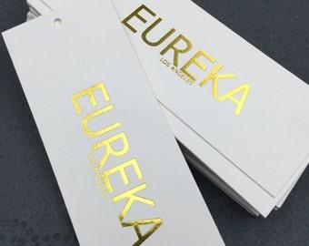 1000 gold foil hang tags, hang tags gold, gold hang tags, heavy white cardboard
