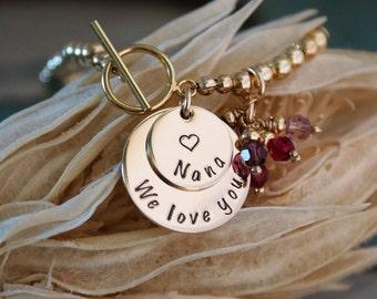 Custom Grandma Bracelet / Personalized 14K Gold Filled, Sterling Silver or Rose Gold Beaded Bracelet / Grandma We Love you
