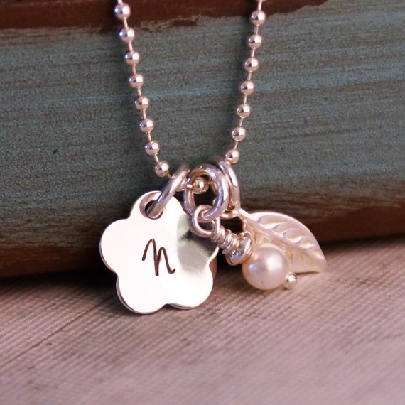 Small Flower Initial Necklace / Personalized Necklace / Hand Stamped Sterling Silver Jewelry / Flower Girl Necklace