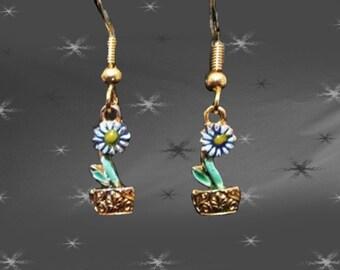 Vintage Little Dangle Earrings - 80s Blue Flower Pot Dangles - Pierced Earwires on Original Card